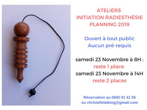 Ateliers initiation radiesthésie le 23 Novembre à 8h ou 14h: reste 3 places