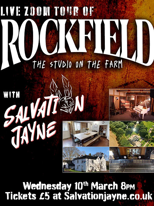 Live Zoom Tour of Rockfield Studios plus Q&A with Salvation Jayne!