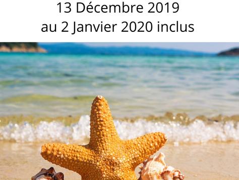 CONGÉ ANNUEL : 13/12/2019 au 02/01/20 inclus
