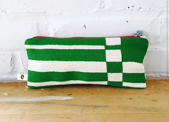 Kelly Green Bold Geo Flat Pencil Zipper Bag