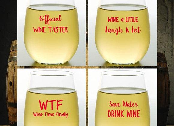 WINE SAYINGS - 4pk Wine Glasses