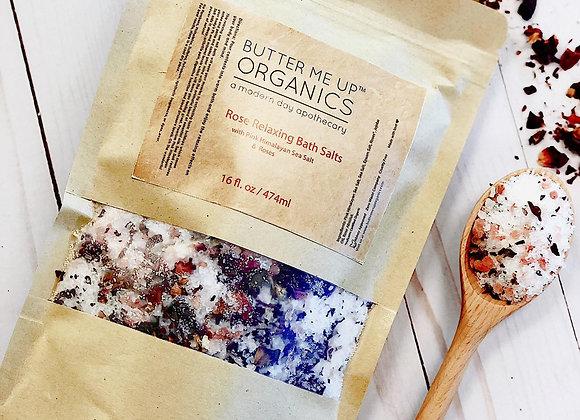 Organic Rose Bath Salts | Salt Soak - Relaxation - Rose Pink