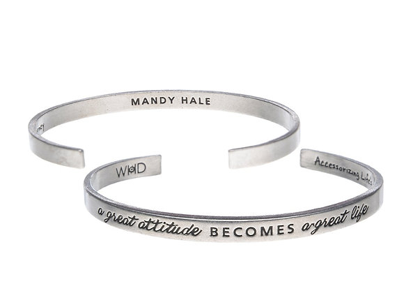 A Great Attitude Becomes a Great Day - Quotable Cuff Bracelet