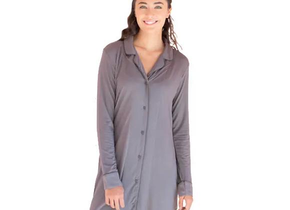 Bamboo Boyfriend Pajama Nightshirt- grey