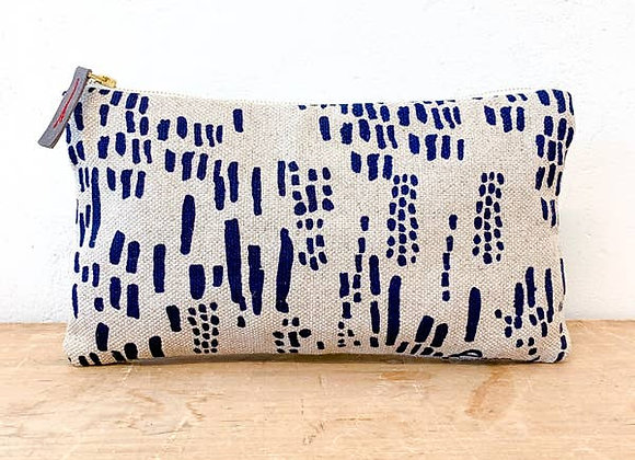 Navy Rain Oatmeal Linen Clutch Zipper Bag