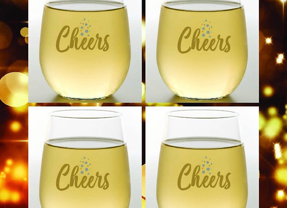 CHEERS | Shatterproof Wine Glass | Stemless 4 pieces