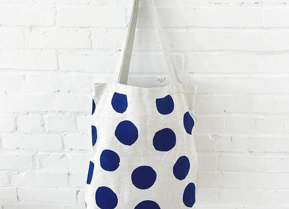 Navy Big Dot Linen Carry All Bag