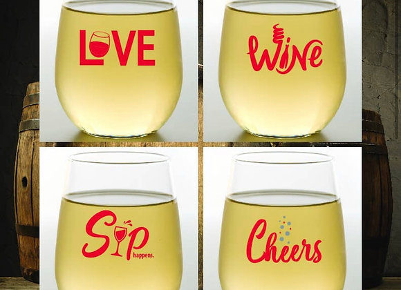 WINE   Shatterproof Wine Glass   Stemless 4 pieces