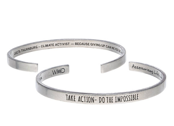 Take Action! Do The Impossible - Quotable Cuff Bracelet