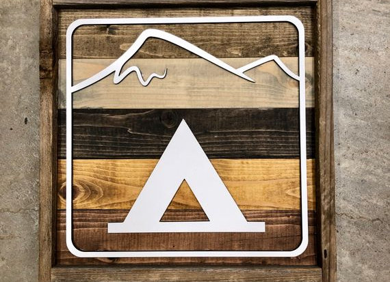 Tent Camping Recreational Sign - 12X12 Inch