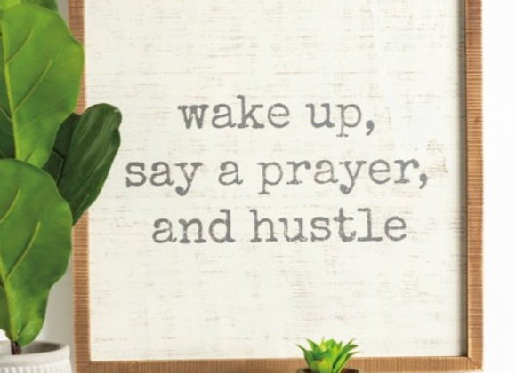 Wake Up Wooden Sign