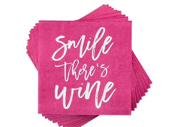 Smile There's Wine Cocktail Napkin