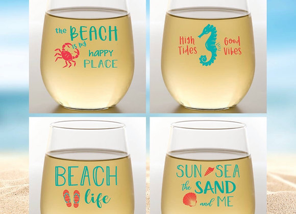 BEACH | Shatterproof Wine Glass Stemless | Set of 4