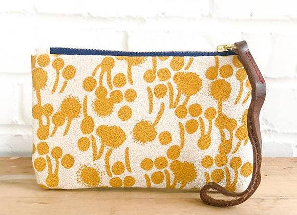 Gold Berries Wristlet Zipper Bag