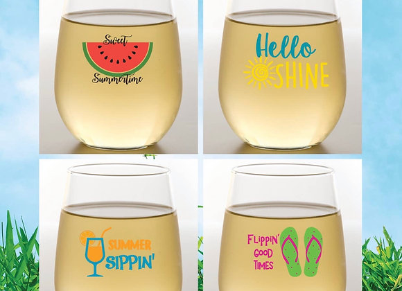 SUMMER | Shatterproof Wine Glass | Stemless 4 pieces