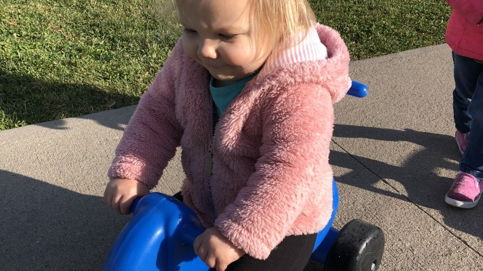 Toddler playing outside on a tricycle