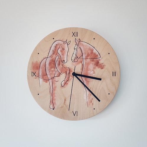 Wooden Clock - Horses n°1
