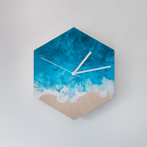 Wooden Clock - Ocean n°3