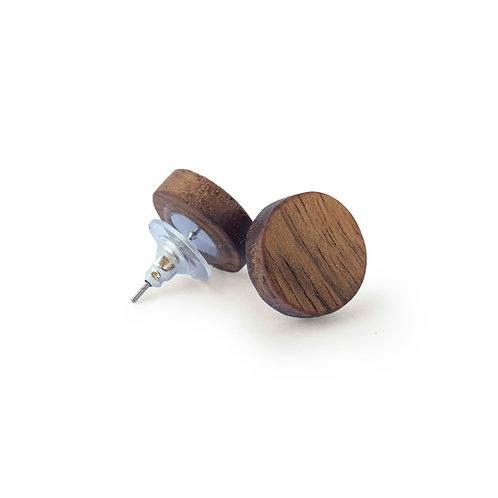 Round earrings - Walnut