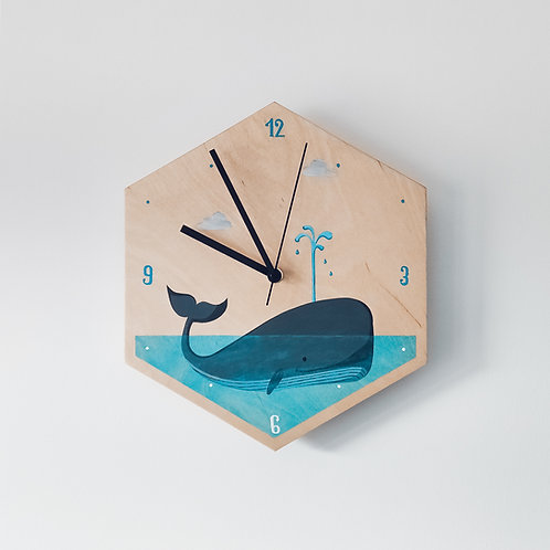 Wooden Clock - Whale n°1