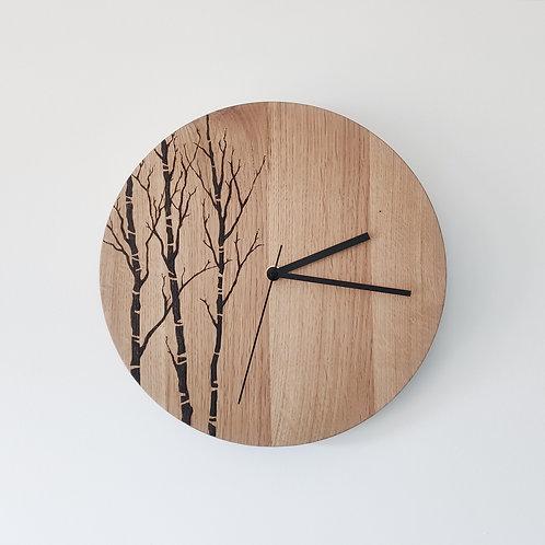 Wooden Clock - Oak Trees