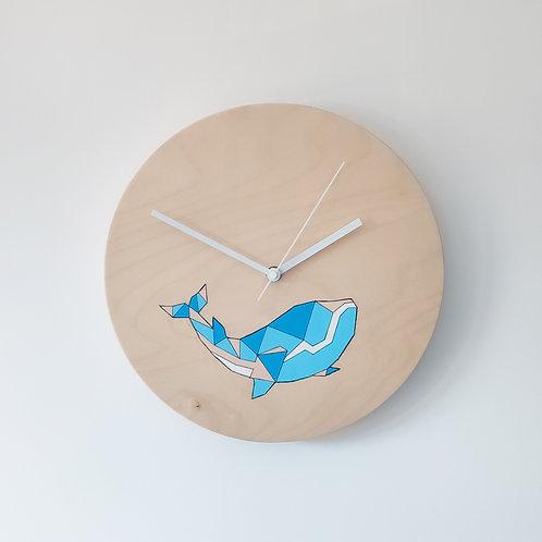 Wooden Clock - Whale n°2