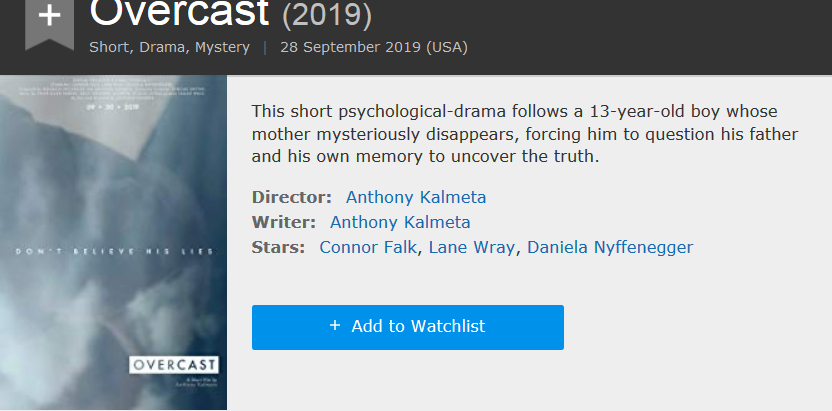 OVERCAST is now listed on IMDB
