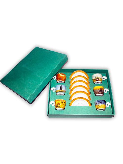 """Набор чашек с блюдцем  """"DOVA"""" 175 мм ; декор """"VAN GOGH"""" в подарочной упаковке (6"""