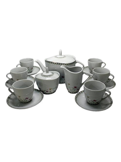 """Чайный сервиз 17/6 """" Silvia""""; декор """"Полевые цветы"""""""