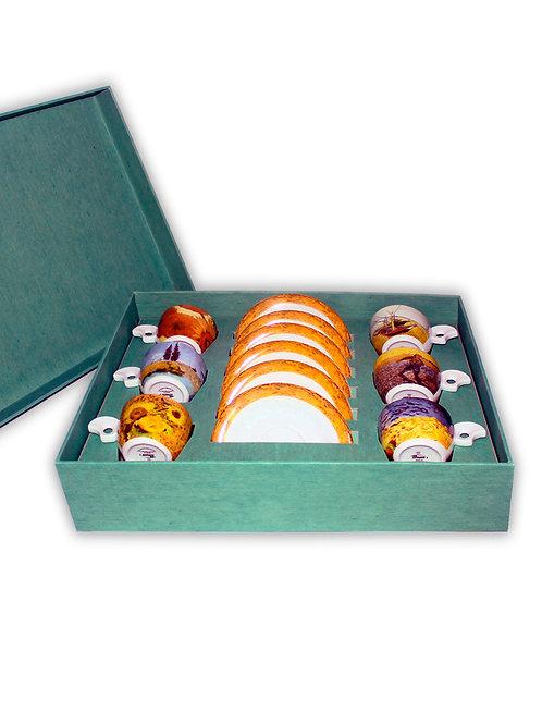 """Набор чашек с блюдцем """"DOVA"""" 140 мм ; декор """"VAN GOGH"""" в подарочной упаковке (6"""