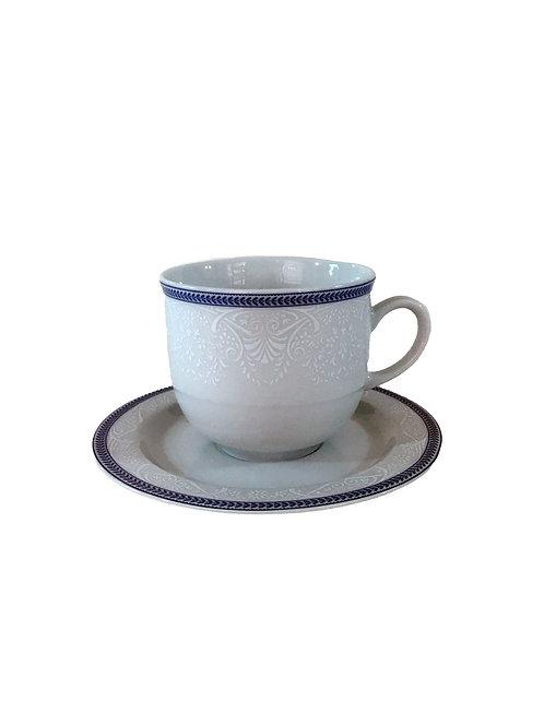 """Чашка с блюдцем """"Opal""""  155 мм высокая ; декор """"Голубые пластинки"""""""