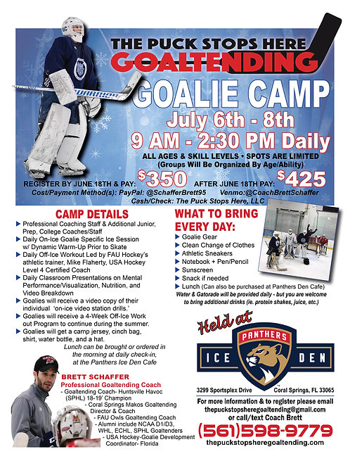 Goalie Camp- July 6th-8th, 2021 (9AM-2:30PM Daily)