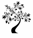 Black and white cherry blossom vector.pn