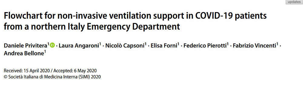 Flowchart for non-invasive ventilation support in COVID-19 patients from a northern Italy Emergency Department