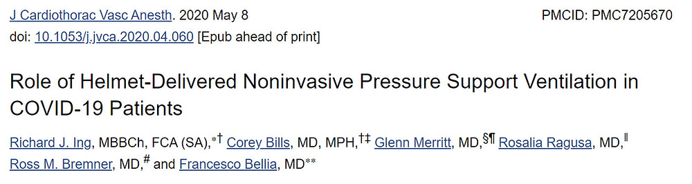 Role of Helmet Delivered Noninvasive Pressure Support Ventilation in COVID-19 Patients