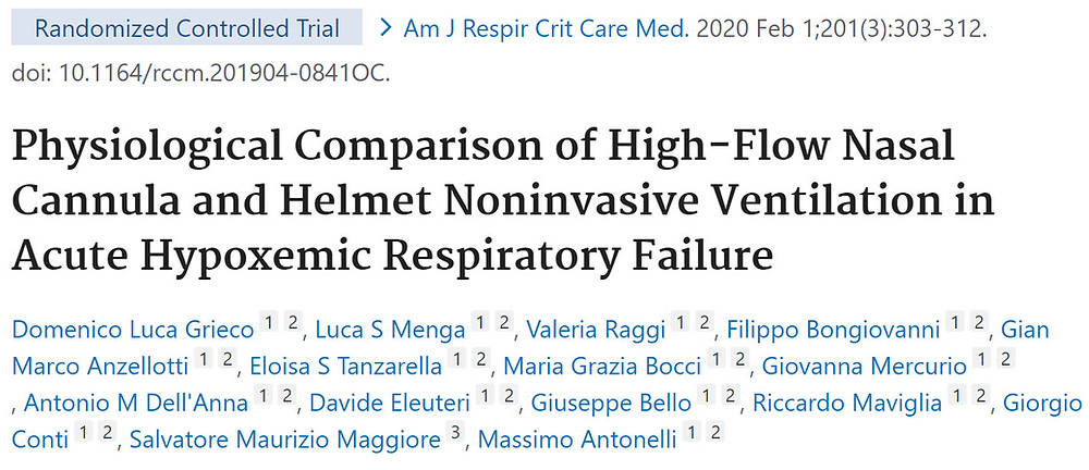 Physiological Comparison of High Flow Nasal Cannula and Helmet Noninvasive Ventilation in Acute Hypoxemic Respiratory Failure