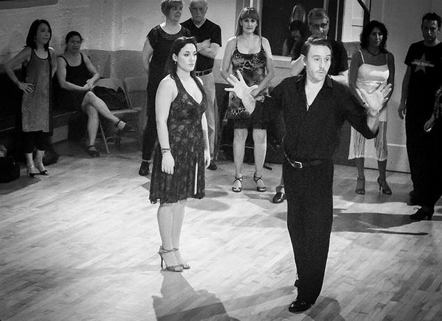 Jaimes teaching tango with Johana Copes