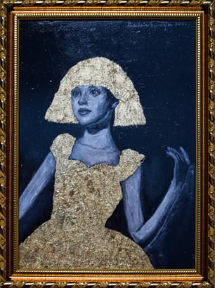 Golden Girl - Acrylics & Gold Leaf on Paper