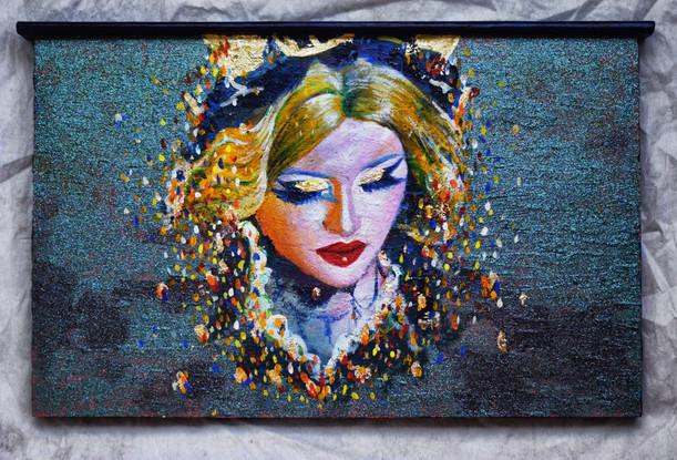 True Colors, Self-Portrait, Acrylics, Gold Leaf & Glitter on Wood.