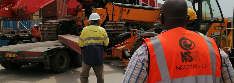 Loading of Caterpillar excavators