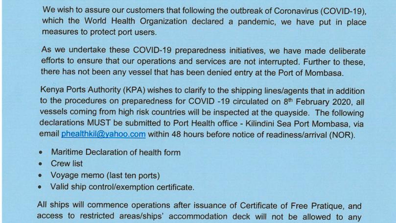 Corona virus (Covid-19) Update from Kenya Ports Authority