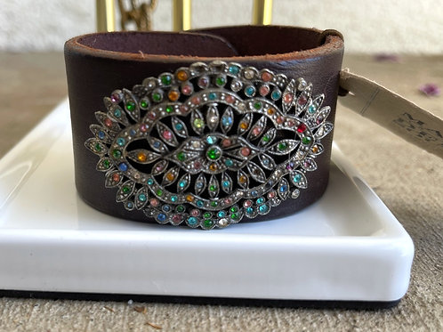 Made in the Deep South Brown Leather Cuff with 1800s Brooch