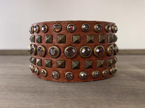 Leatherock Cognac Brown Studded Cuff