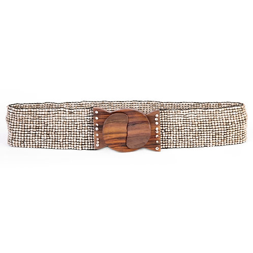 Beaded Belt with Brown Wood Buckle Closure