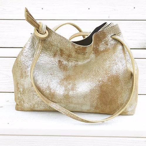 Stefka NYC Leather Drawstring Tote
