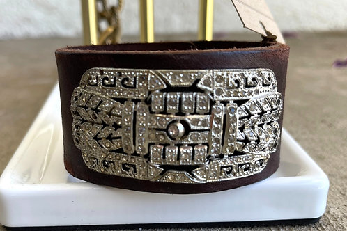 Made in the Deep South Brown Leather Cuff with 1940s Brooch