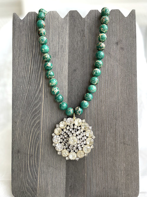 Made in the Deep South Brooch Necklace with Emerald Jasper Beads