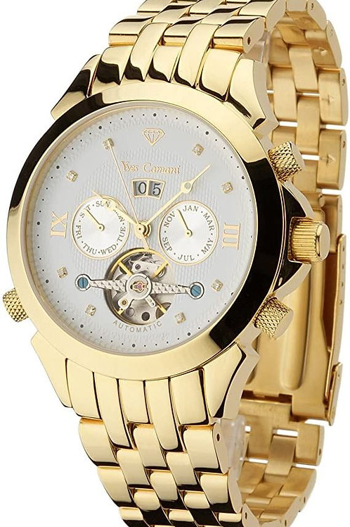 Yves Camani Navigator - Mens watch  18kt gold plated - 8 diamonds