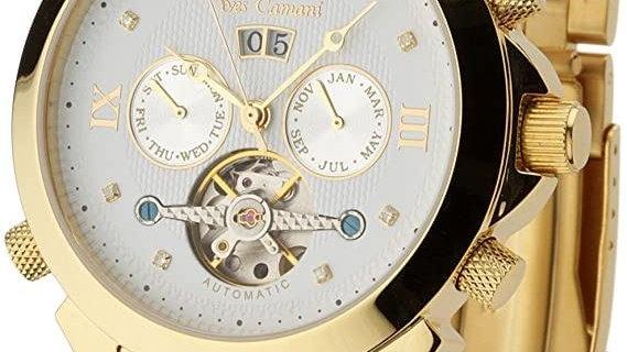 Yves Camani Navigator - Mens watch  18kt gold plated - 8 diamonds