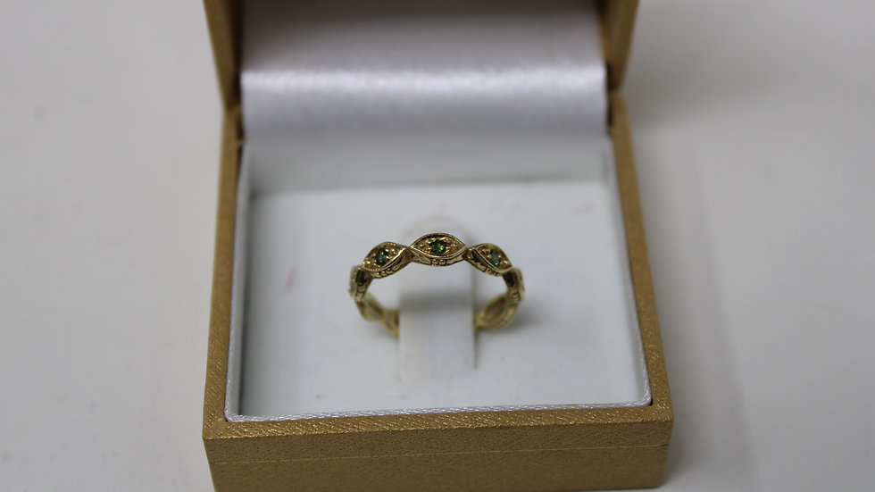 14KT Styled with Emeralds Ladies ring size 6